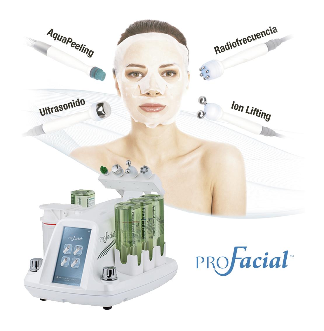 tecnologias profacial: Aqua Peeling, Ion Lifting, radiofrecuencia y Ultrasonidos. belium medical distribuidor españa. Limpieza facial profunda, rejuvenecimiento, antiarrugas, producción de colágeno