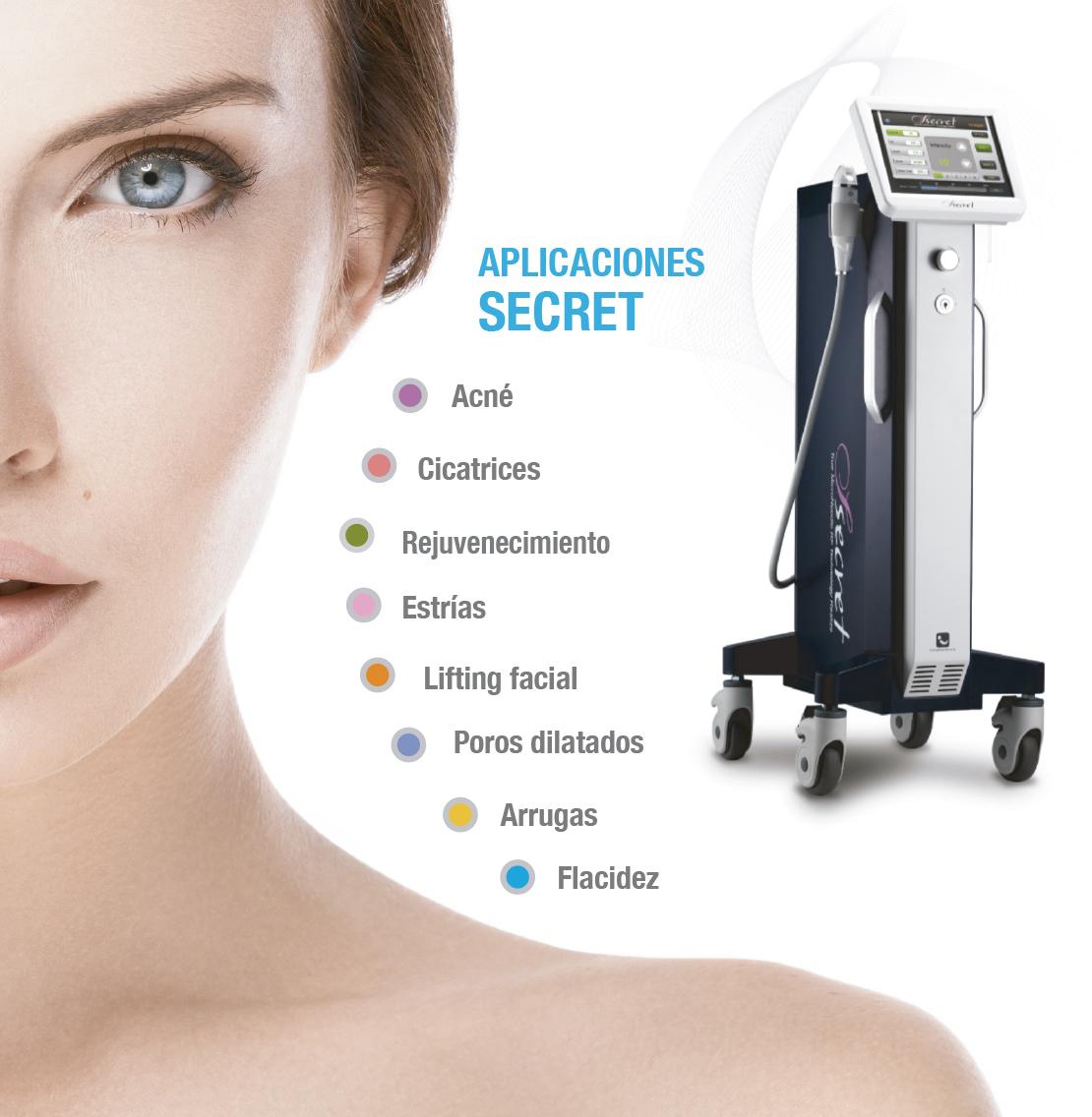 aplicaciones secret radiofrecuencia fraccionada microagujas punta de oro de belium medical FDA para acne, cicatrices, rejuvenecimiento, colágeno