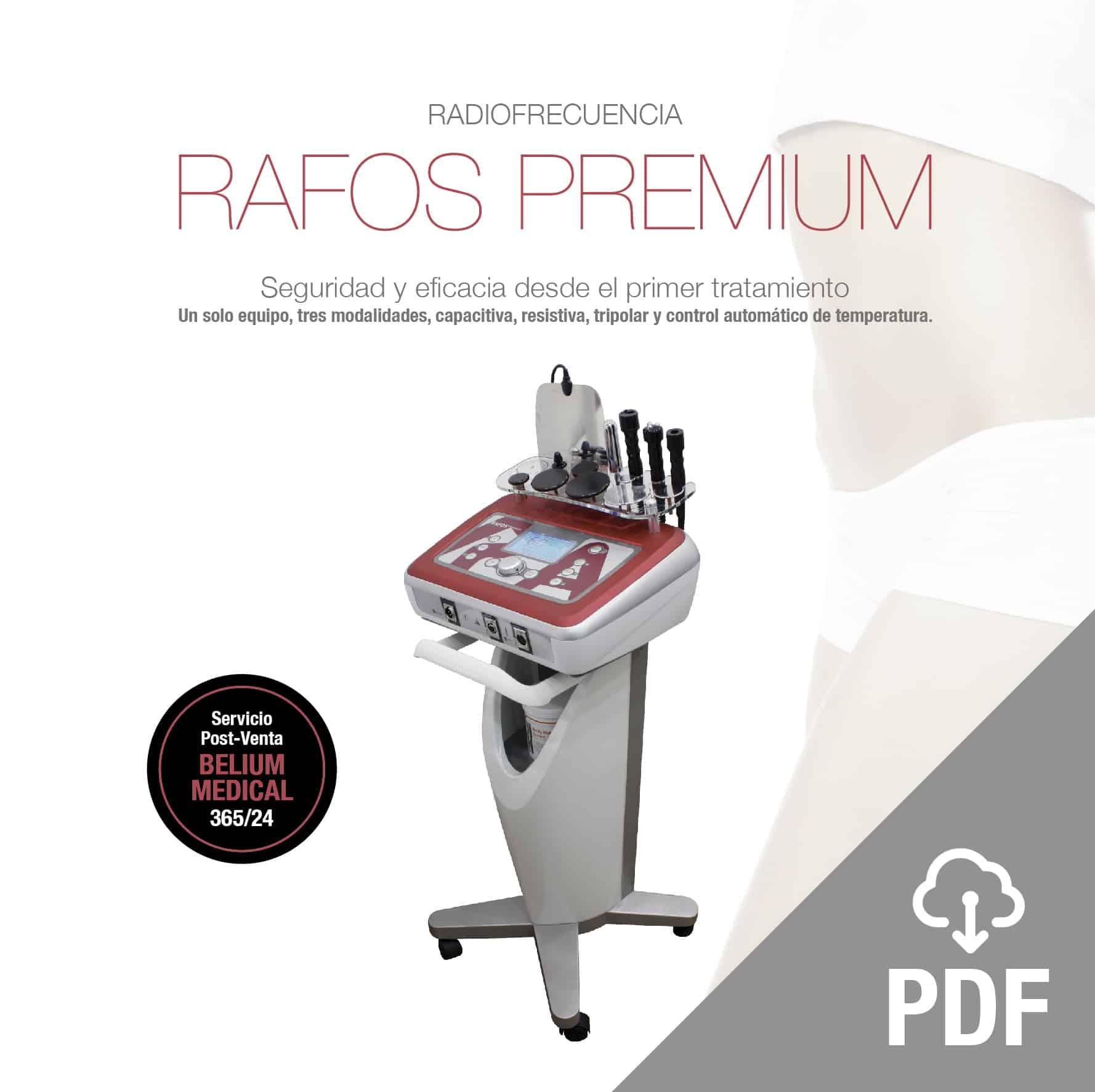 rafos premium radiofrecuencia capacitiva, resistiva y tripolar pdf. Diatermia, estético y terapéutipo. Belium Medical