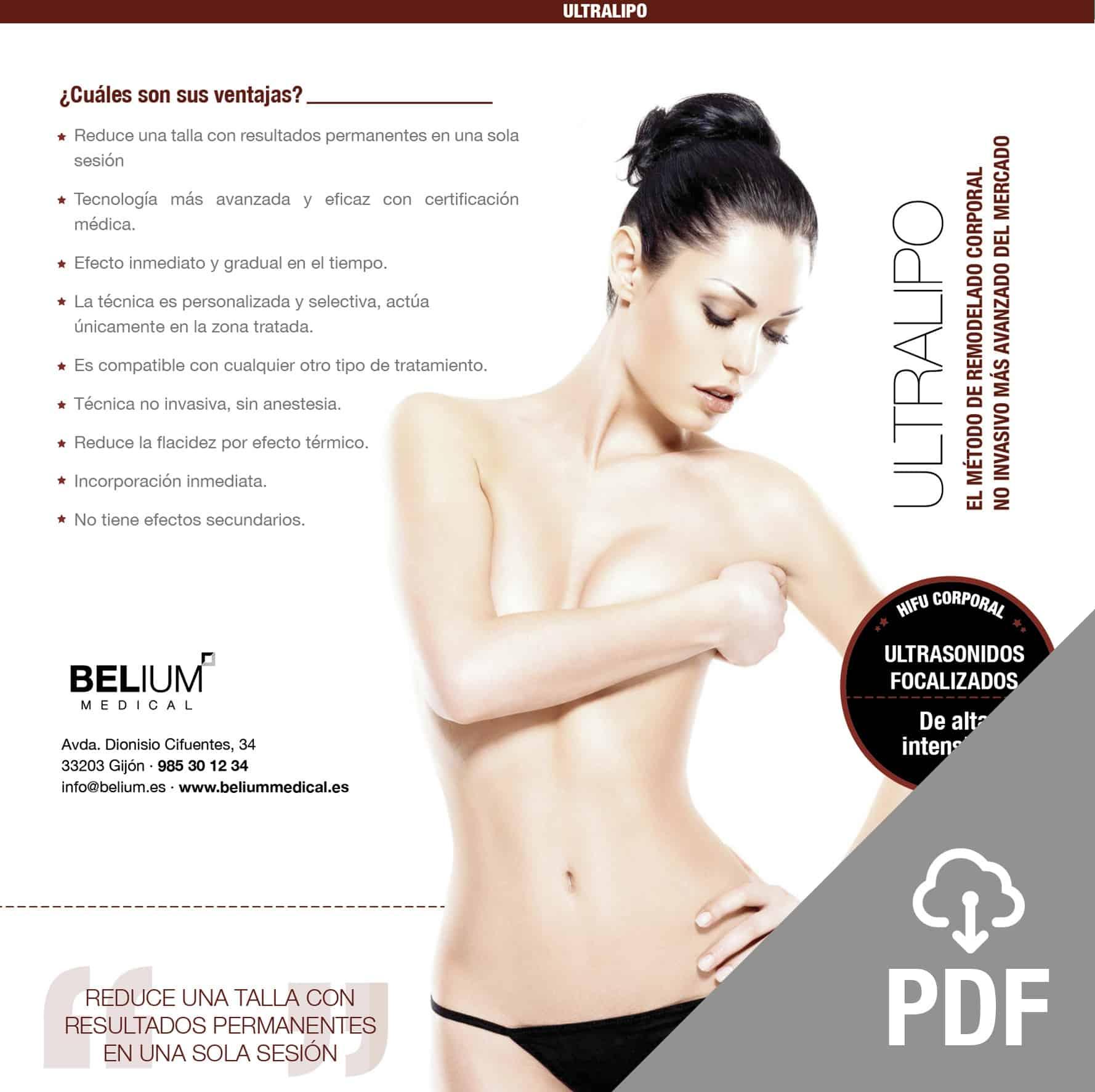 ultralipo pdf remodelado corporal HIFU descompone grasa subcutánea. Belium Medical distribuidor oficial españa
