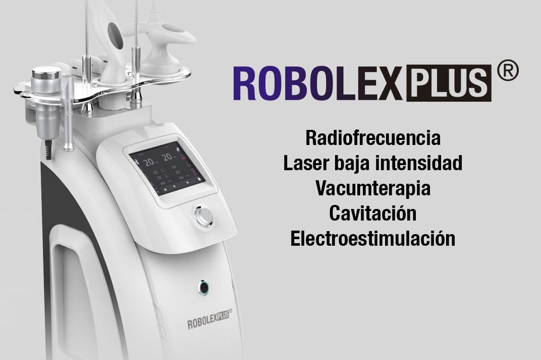 robolex plus RADIOFRECUENCIA: Combate la flacidez. LÁSER BAJA INTENSIDAD: Reduce la adiposidad. VACUMTERAPIA: Atenua la celulitis. CAVITACIÓN: Ultrasonidos que eliminan la grasa localizada. ELECTROESTIMULACIÓN: Acción lipolítica y tonificante